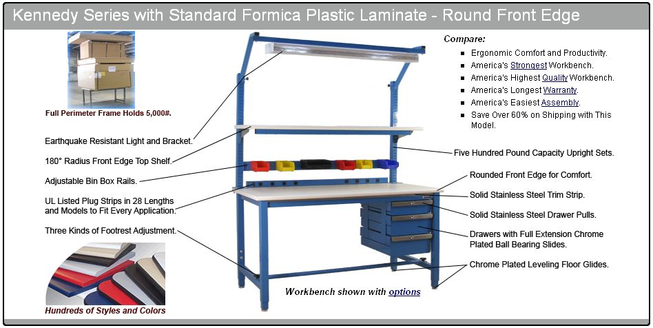 BenchPro Workbench details (Formica (TM) or ESD)